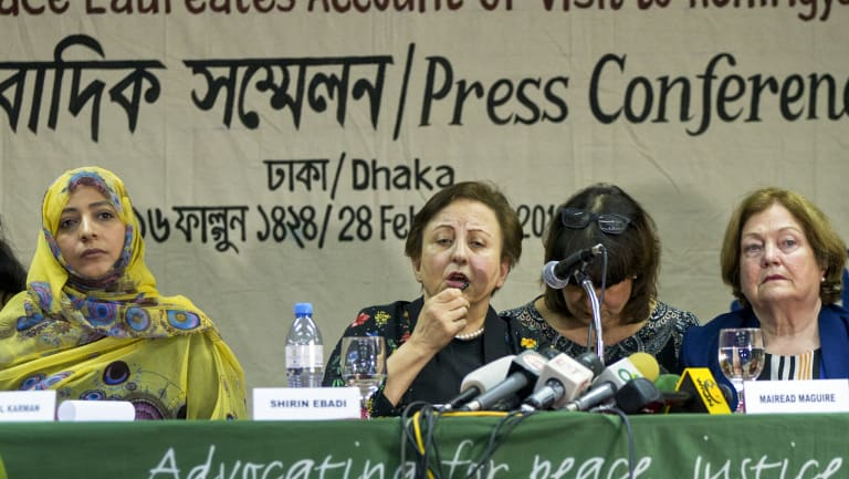 Nobel Peace laureates, from left, Yemen's Tawakkol Karman, Iran's Shirin Ebadi and Ireland's Mairead Maguire last month accused Aung San Suu Kyi and the nation's military of genocide.