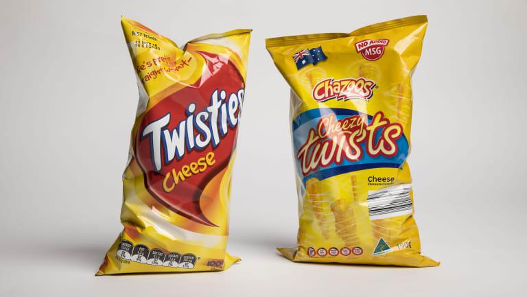Frito-Lay's Twisties and Aldi's Cheezy Twists.