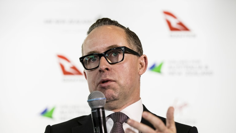 """Qantas chief executive Alan Joyce, who in March labelled Canberra Airport's behaviour """"absolutely appalling""""."""