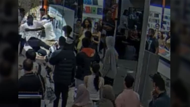 CCTV footage of the teen kicking the police officer at Highpoint Shopping Centre.