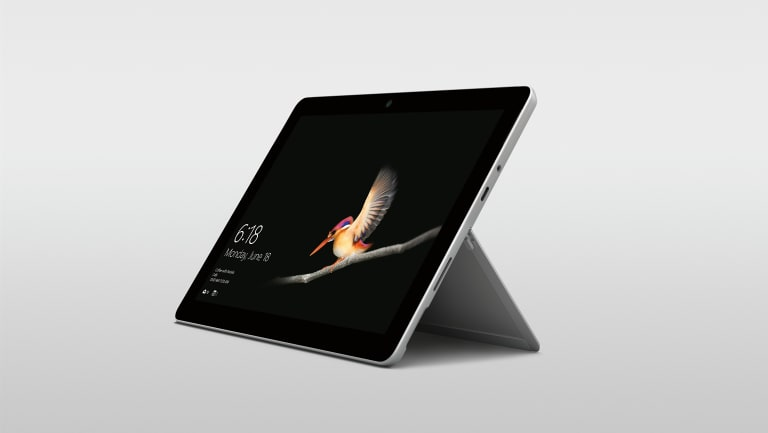 The Surface Go features a 10-inch touchscreen and a built-in kickstand.