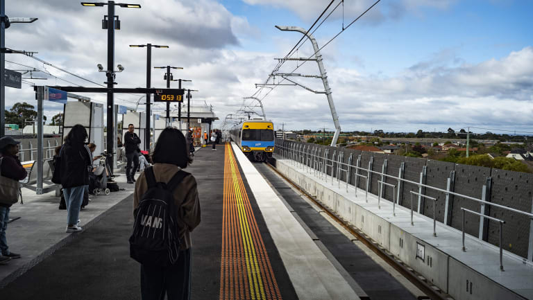 Passengers wait for the next train at Clayton.