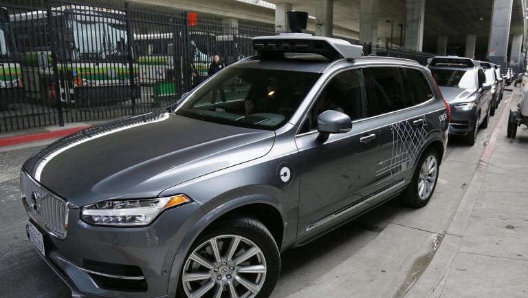 An Uber driverless car heading out for a test drive in San Francisco.
