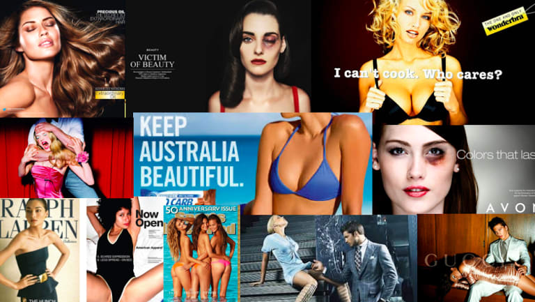 A collage of objectified women in advertising, made by Jane Gilmore.