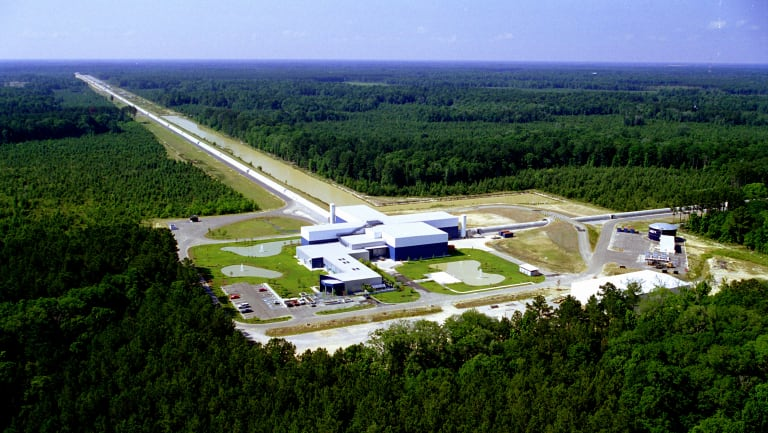The LIGO interferometer in Livingston, Louisiana, is used to detect ripples in space-time. A giant laser is projected down a 4 kilometre tunnel, which lengthens as a ripple passes through.