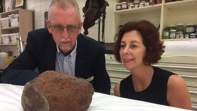 Queensland Museum's acting chief executive Dr Robert Adland with Queensland's Assistant Minister of State Jennifer Howard with the rare iron-nickel Georgetown meteorite.