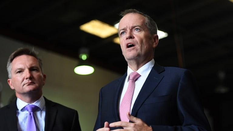 Federal Opposition Leader Bill Shorten (right) and shadow treasurer Chris Bowen.