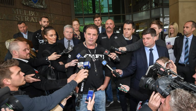Union boss John Setka addresses the media after blackmail charges were dropped in a case involving a secondary boycott.