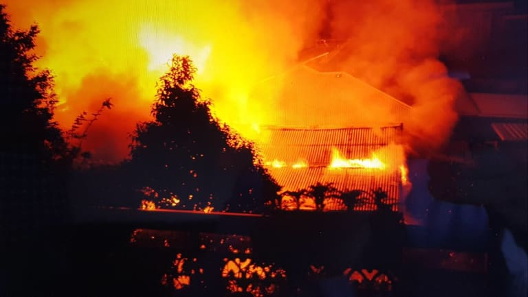 The fiery blaze that destroyed the Gymea unit and killed Jeffrey Lindsell.