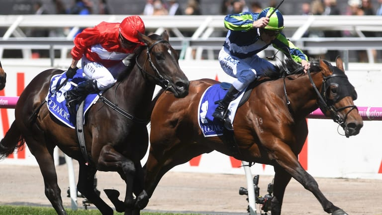 Royal treatment: Merchant Navy drives through on the inside to win the  Coolmore Stud Stakes in the spring.