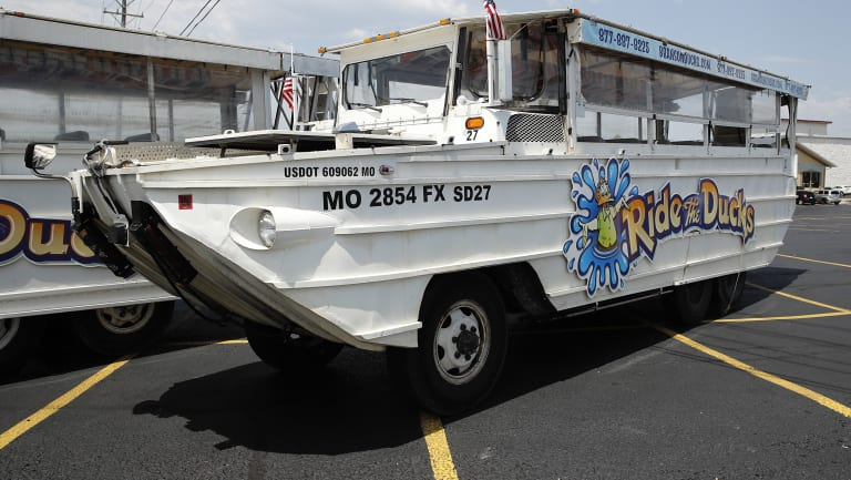 A duck boat sits idle in the parking lot of Ride the Ducks. It is similar to one of the company's boats that capsized.