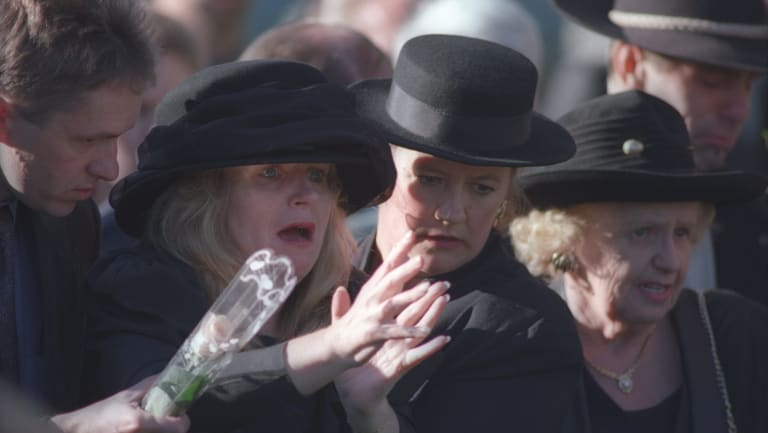 Carolyn Loughton at the funeral of her daughter, Sarah, a victim of the Port Arthur massacre, in 1996.