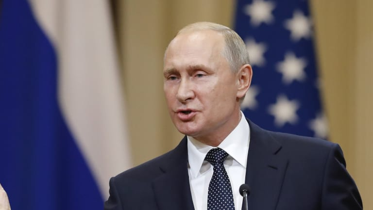 Russian President Vladimir Putin speaks during a press conference after the meeting of US President Donald Trump and Russian President Vladimir Putin.