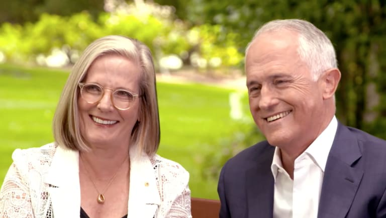 Malcolm Turnbull and his wife Lucy, with whom he discussed the ban on ministers and staffers having sex.