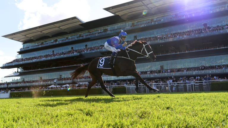 Magestic: Hugh Bowman guides Winx to victory in the Longines Queen Elizabeth Stakes.