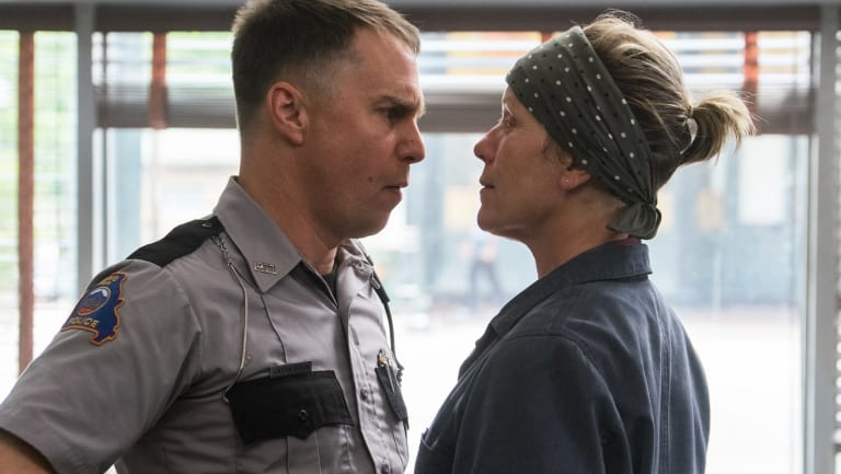 Sam Rockwell, left, and Frances McDormand in a scene from Three Billboards Outside Ebbing, Missouri.