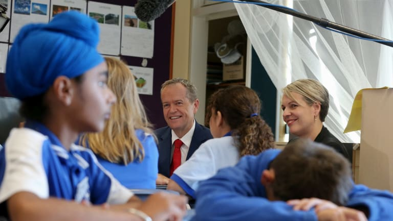 Opposition Leader Bill Shorten and education spokeswoman Tanya Plibersek at St Thomas the Aspostle Primary School in Canberra.