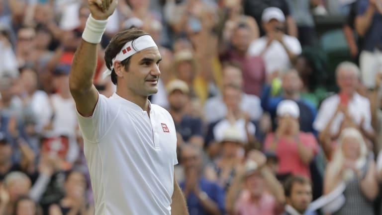Federer after winning his second round match at Wimbledon.