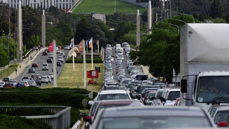 Heavy traffic on Commonwealth Avenue after the Acton Tunnel closure in 2015. There are concerns closing lanes for light rail will cause gridlock.