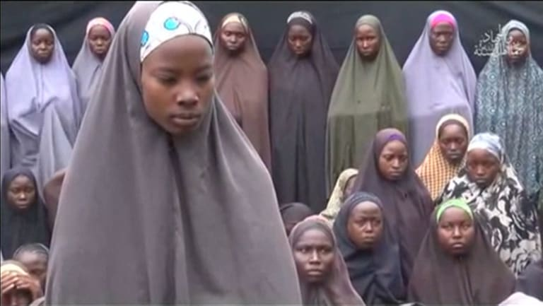 Some of the girls kidnapped from Chibok in the 2014 video.