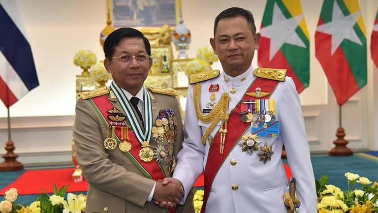 """Senior General Min Aung Hlaing posted a photo to his Facebook page alongside his Thai counterpart as he received the """"Knight Grand Cross First Class of the Most Exalted Order of the White Elephant."""""""