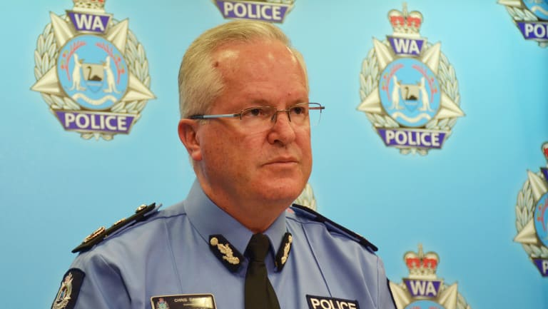 WA Police Commissioner Chris Dawson speaks on Friday about the shooting near Margaret River.