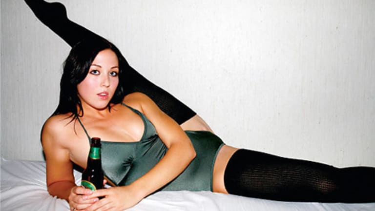 An example of a sexualised woman in an ad for American Apparel.
