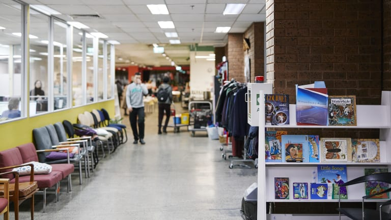 Supplies at the ASRC's Footscray headquarters include donated books and winter clothing.
