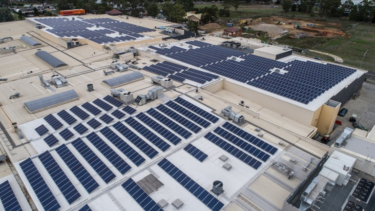 A drone view of solar panels on Stockland's Wetherill Park.