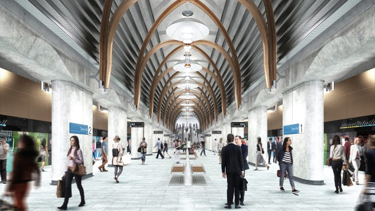 Commuters will board trains from a platform like this at the new Town Hall train station.