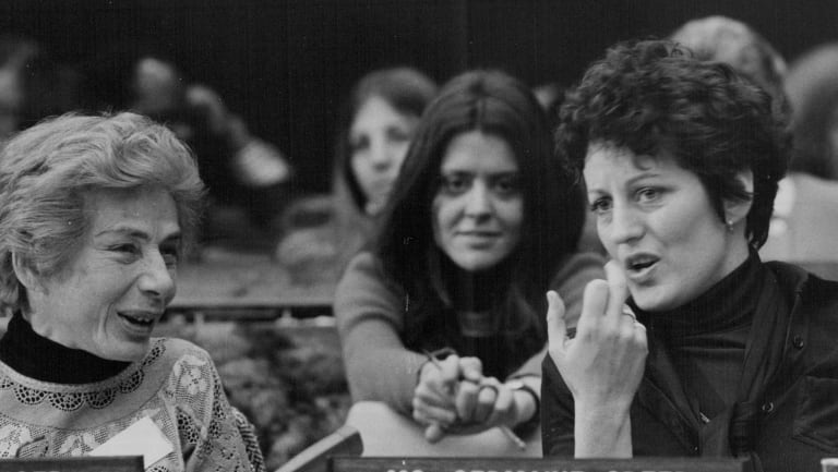 Marie Langer (left) of Argentina, Paychoanalyst and author, chatting with Germaine Greer (Australia), author, during the panel discussion to celebrate International Women's Day in 1975.