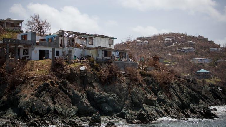 A damaged building in St John, US Virgin Islands.