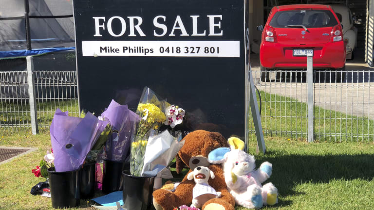 Tributes for Brodie outside the Alma Street home.