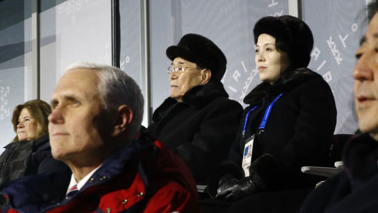 Kim Yong-nam and Kim Jong-un sit behind US Vice-President Mike Pence and Japanese Prime Minister Shinzo Abe as they watch the opening ceremony of the 2018 Winter Olympics.