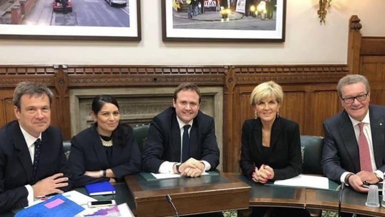 Bob Seely (l) with fellow Tory members of the UK parliament's foreign affairs committee Priti Patel and Tom Tugendhat met Australia FM Julie Bishop and High Commissioner Alexander Downer at the House of Commons this week