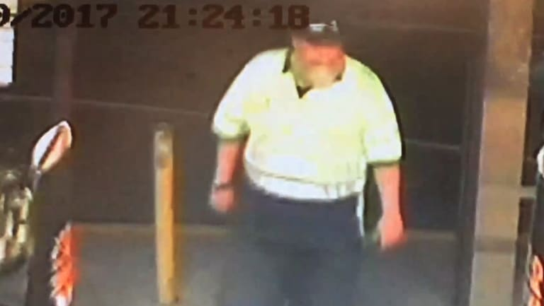 Jeffrey Lindsell, pictured in CCTV footage as he left the Gymea Hotel on October 7, 2017.