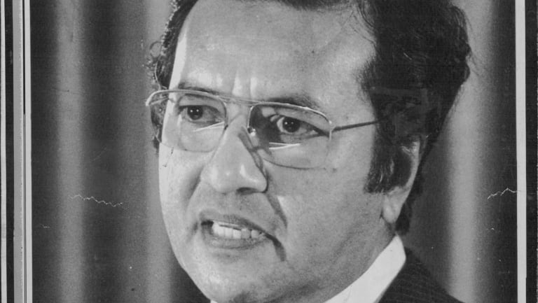Mahathir, Prime Minister of Malaysia in Canberra in 1984.
