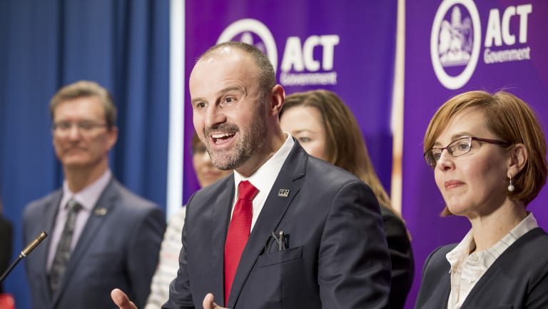 ACT Chief Minister and Treasurer Andrew Barr delivering of the 2018 budget.