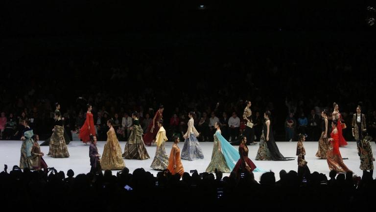 Sukmawati Sukarnoputri read the poem during the Indonesia Fashion Week in Jakarta last week.