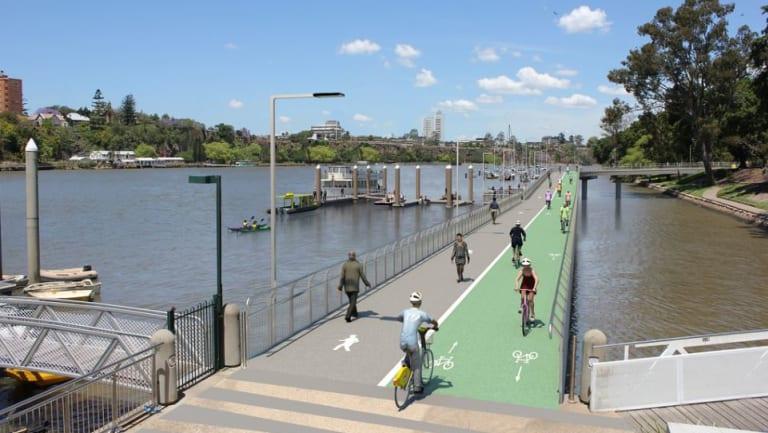 The preliminary design for the Alice Street/Edward Street (Botanic Gardens) Riverwalk project.