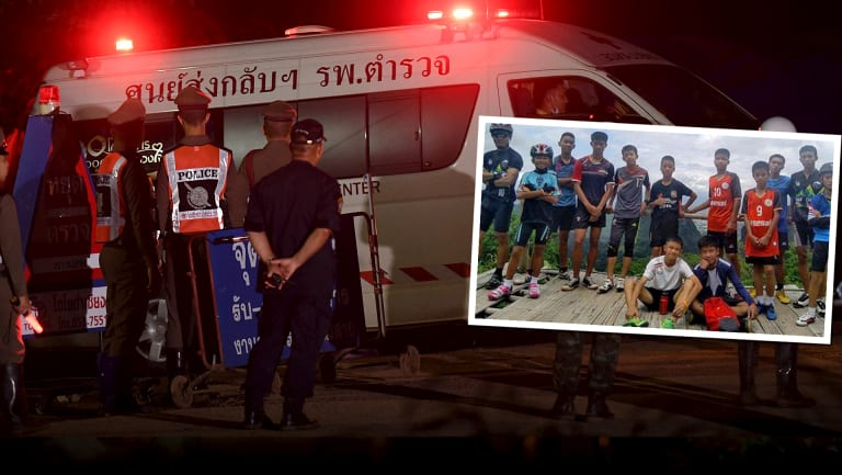 The final ambulance carrying the coach leaves the Tham Luang cave complex.