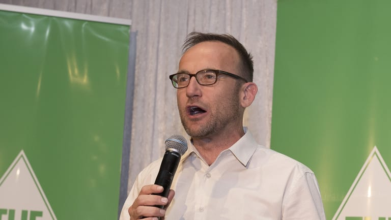 Federal Greens MP Adam Bandt addresses supporters at the Greens election night party in Preston.