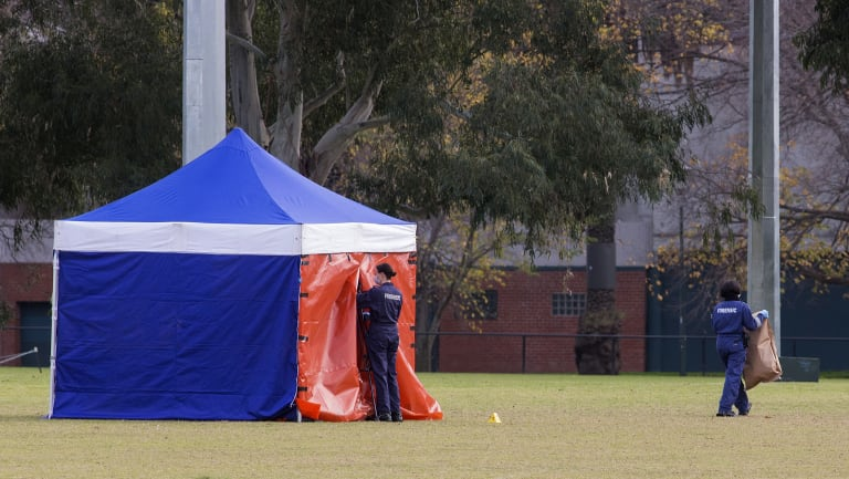 The  woman's body was found on the soccer pitch at Princes Park.