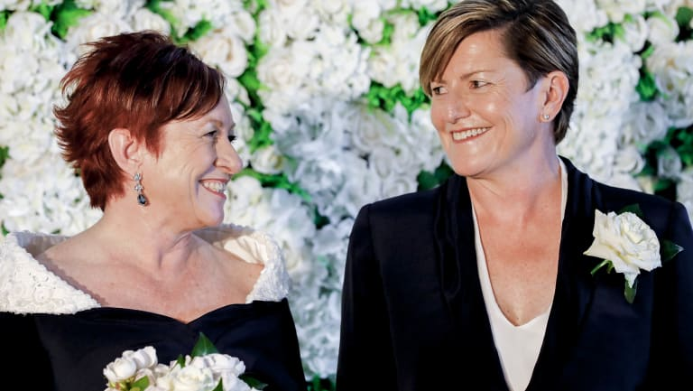 Virginia Edwards and Christine Forester at the wedding.