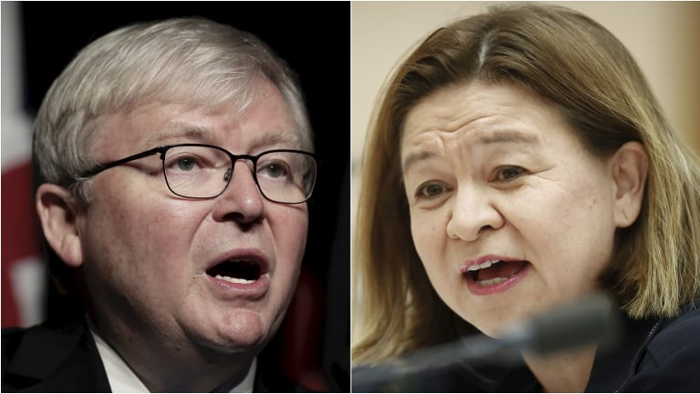 Former prime minister Kevin Rudd and ABC managing director Michelle Guthrie.