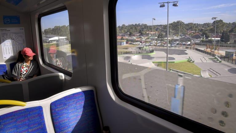 The sky rail train passes through Noble Park.
