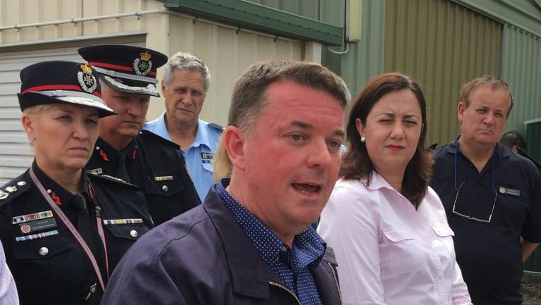 Logan Mayor Luke Smith and Queensland Premier Annastacia Palaszczuk at the Daisy Hill SES depot.