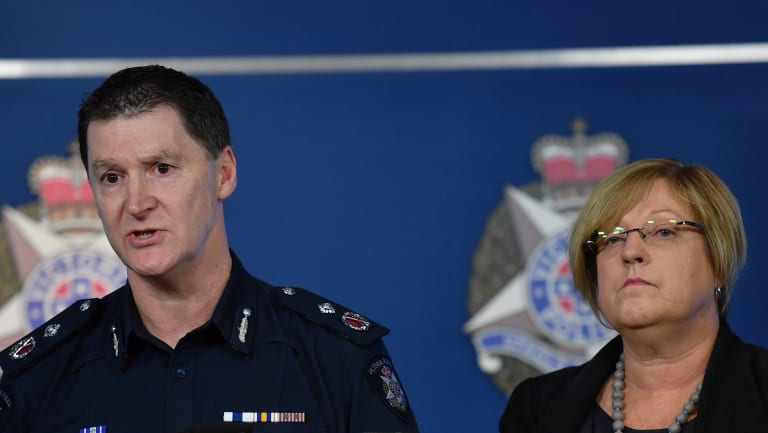 Police Minister Lisa Neville (pictured here with Deputy Commissioner Shane Patton) has given police unprecedented powers to crack down on guns.