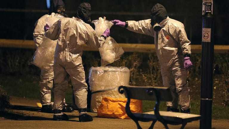 Investigators in protective suits at the scene of the nerve agent attack in Salisbury, believed to have been an assassination attempt by the Russian state.