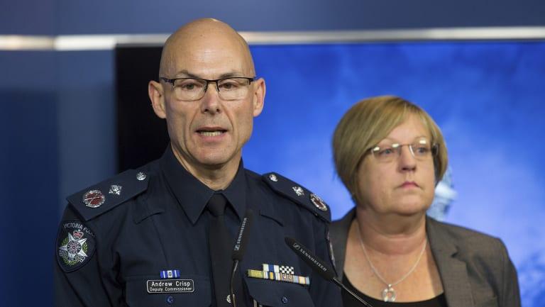Deputy Commissioner Andrew Crisp and Police Minister Lisa Neville.